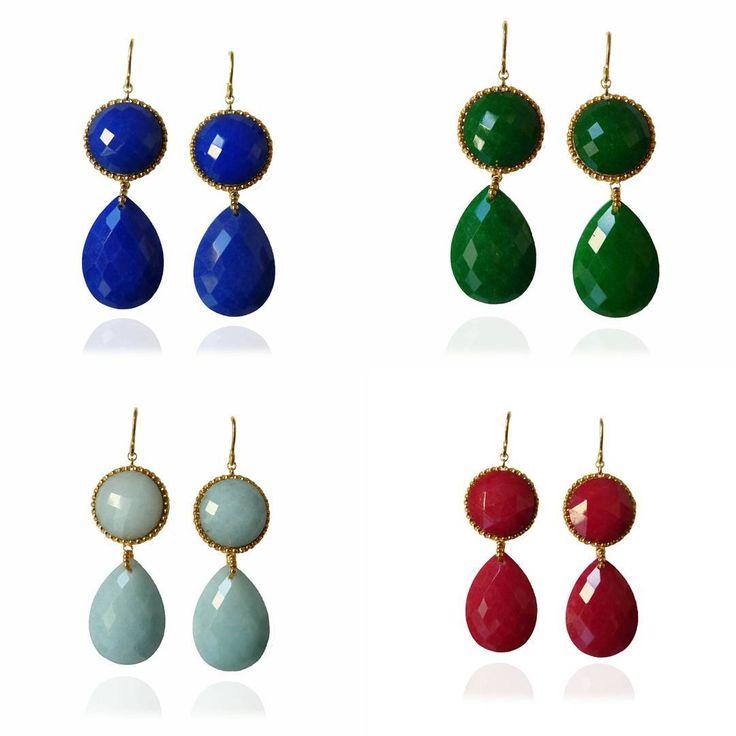 Pendientes con 2 piezas de jade. Perfectos para dar un toque de color a un look sencillo o para las ocasiones especiales.... con cual te quedas? www.aranstudio.es