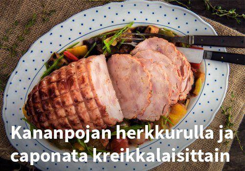 Kananpojan herkkurulla ja caponata kreikkalaisittain  Resepti: Kariniemen #kauppahalli24 #ruoka #resepti #kana