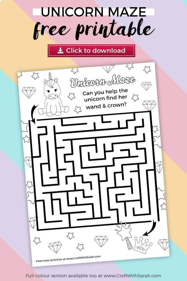 Unicorn Maze Printable Craft With Sarah Unicorn Printables Unicorn Coloring Pages Printable Crafts