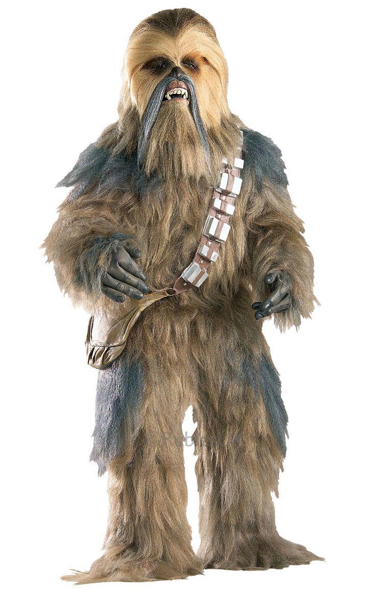 Supreme Edition Chewbacca. Kokonaan turkin peitossa oleva haalariasu sekä maski. Aidonoloiset lateksikäsineet ja olkalaukku.