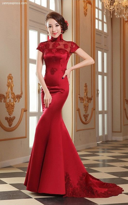 Rp Chinese Wedding Gown Mermaid Crimson Evening Bridal Reception Qipao