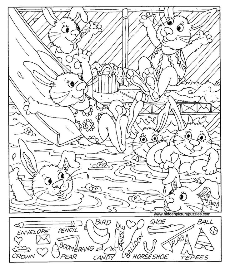 swimming hidden picture coloring page