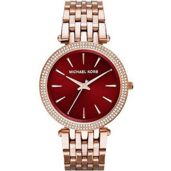 Michael Kors Darci Red Swarovski Dial Rose Gold-tone Ladies Watch Mk3378