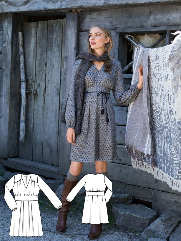 This long sleeve dress shapes a dream figure without the need for a gym! The wide shaping yoke adds definition at the waistline and captures the eye for a subtle shift to draw towards the decolleté. The Italian hem length elongates the look for the finishing touch.