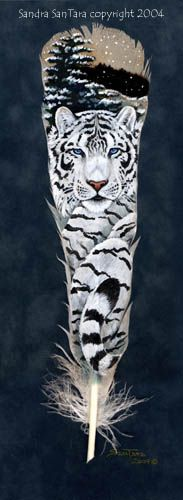 Winter's Guardian ---Siberian Tiger painted feather print