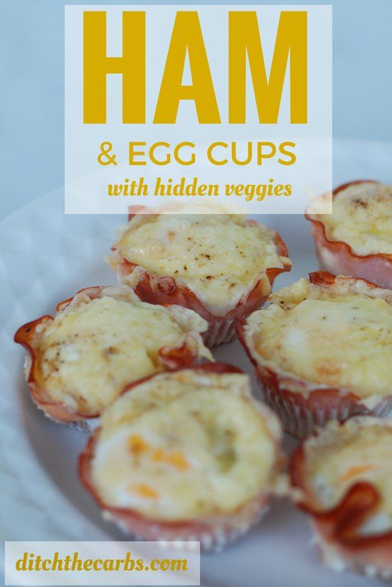 This is such a simple recipe for ham cups. Using a slice of ham instead of pastry is genius! It naturally makes it gluten free, wheat free, grain free and sugar free. You can hide all sorts of veggies in the bottom too. They freeze well so make a hug batch for school lunches. | ditchthecarbs.com