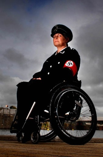 artist Liz Crow dressed in nazi uniform for a performance as part Anthony Gormley's 'One and Other', which took place in Trafalgar Square. Image © Liz Crow