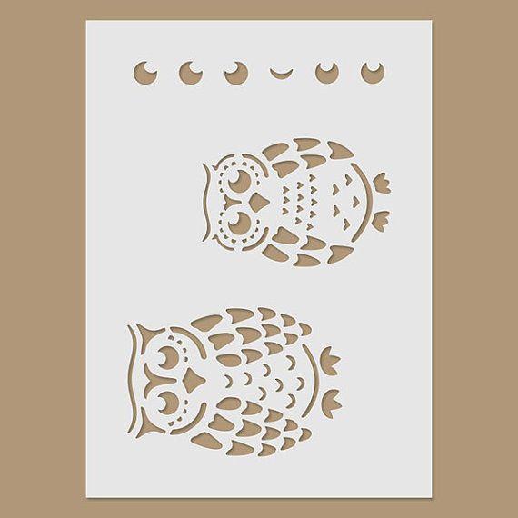 Owls Stencil por StencilDirect en Etsy                                                                                                                                                                                 Plus