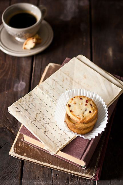 cookies, coffee, letters, books
