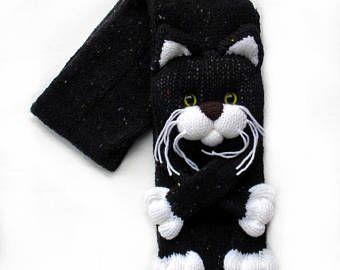 Hecho punto, bufanda de gato, bufanda hecha punto, bufanda Animal, gato bufanda, tejer bufanda