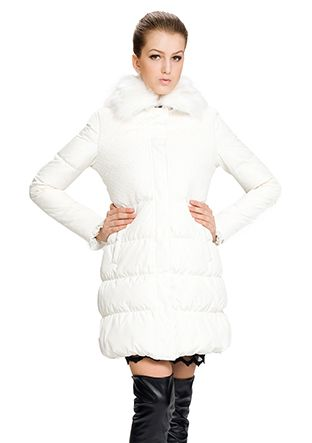 Patricia/white surface(90% goose filler)faux white fox fur/middle down coat