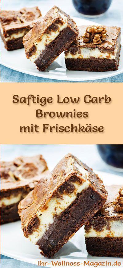 Rezept für saftige Low Carb Brownies mit Frischkäse: Der kohlenhydratarme Kuchen wird ohne Zucker und Getreidemehl gebacken. Er ist kalorienreduziert, ...