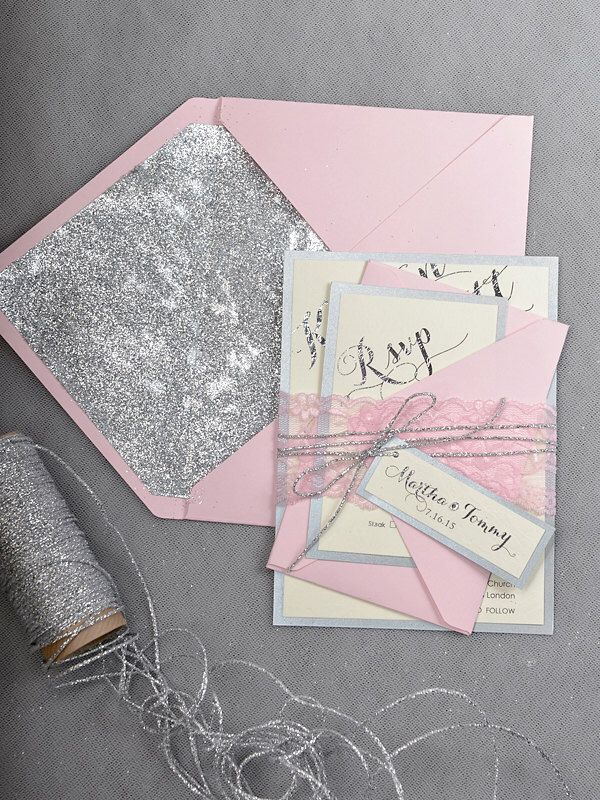 Custom listing (20) Pink Silver Glitter Wedding Invitation, Blush Pink Invitation, Wedding Glitter Invitations, Pink Lace Inviation by forlovepolkadots on Etsy https://www.etsy.com/listing/213223695/custom-listing-20-pink-silver-glitter