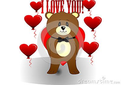 Bear vector illustration of heart-ballons and I love you inscription.