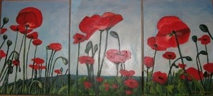 """A triptych in acrylic.  Poppies in the Field.  24"""" by 12 """""""