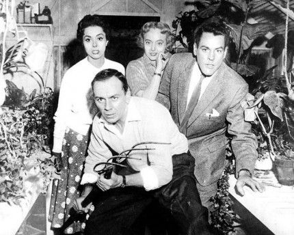"""Carolyn Jones, King Donovan, Dana Wynter, and Kevin McCarthy in """"Invasion of the Body Snatchers"""" (1956)"""