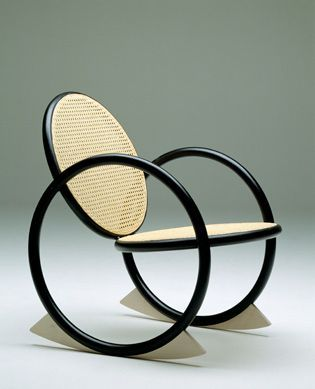 Rocking chair 'VIPP' by Verner Panton, 90s, rattan with black wood