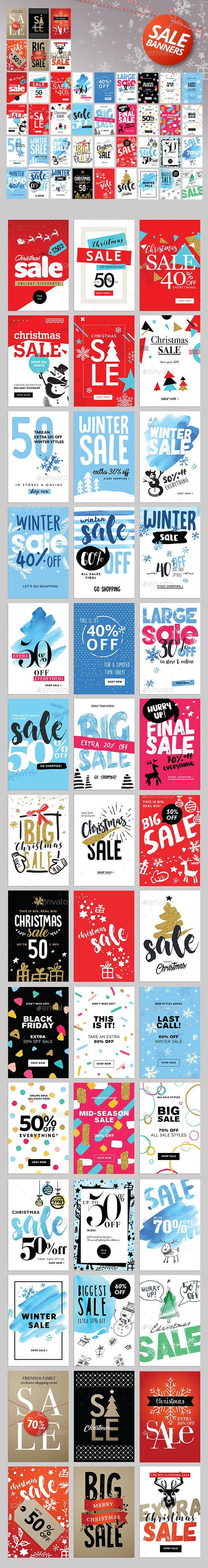 Set of Winter Mobile Sale Banners Template PSD, Transparent PNG, Vector EPS, AI Illustrator