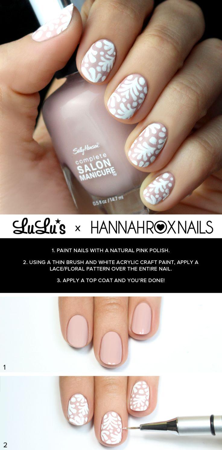White Lace Nail Tutorial at LuLus.com! #nails #NailDesigns #NailArt