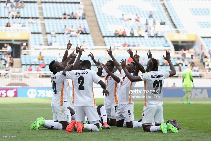 Zambia team celbrate their fisrt goal scored by Edward Chilufya of Zambia during the FIFA U-20 World Cup Korea Republic 2017 group C match between Zambia and Portugal at Jeju World Cup Stadium on May 21, 2017 in Seogwipo, South Korea.  (Photo by Christopher Lee - FIFA/FIFA via Getty Images)