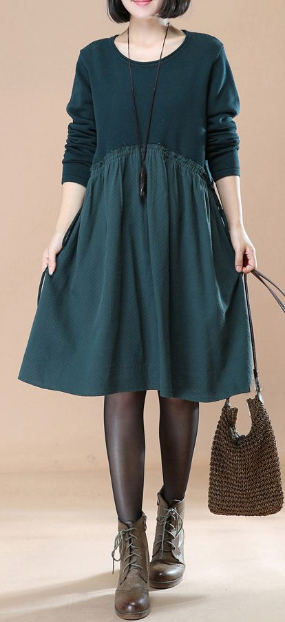 cozy green  maternity dress sweater dresses trendy plus size pullover sweater casual patchwork pullover #plussizedress#omychic