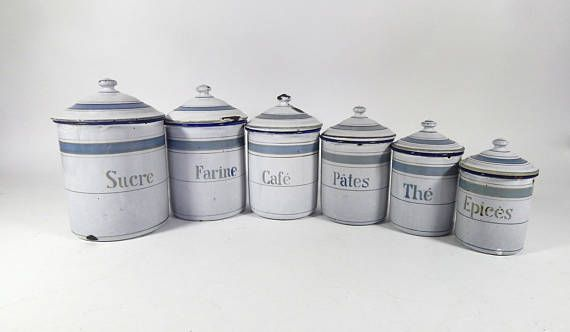 6 French Vintage Enamelware Canisters Complete Set with Lids