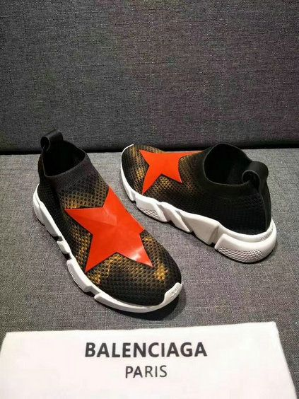 e991ec4a1542 Buy Balenciaga Speed Knit Trainers Black Yellow With Red Stars Logo ...
