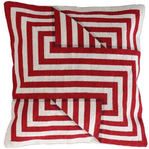 """Needlepoint cushion - """"Folds 1 Strong Red"""" from Theo and the Major. I would love to make this as a quilt!"""