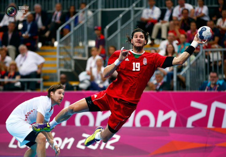 Day 16 - Hungary's Laszlo Nagy attempts to score as Croatia's Ivan Cupic looks on during their men's bronze medal handball match at the London 2012 Olympic Games at the Basketball Arena.