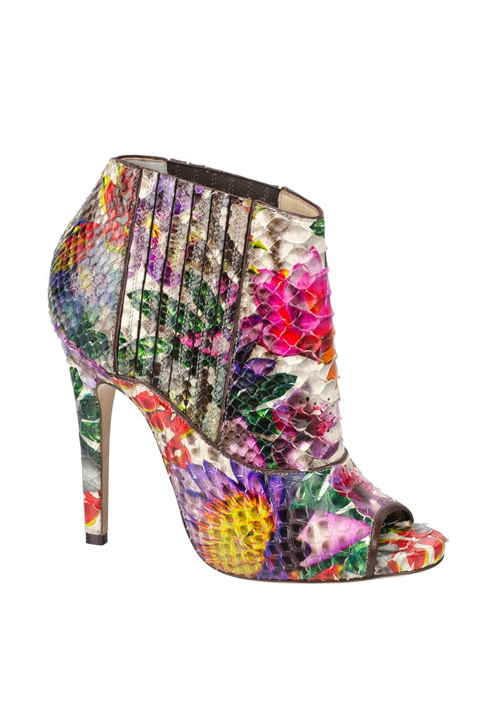 Colorful Bootie for spring or summer  loving the floral detail and colors,live out loud.Jimmy Choo