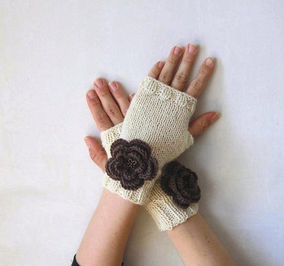 merino arm warmers cream mittens brown crocheted by CozyKnittings