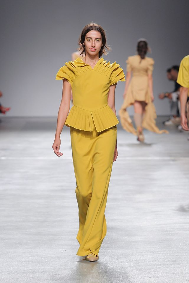 Pleated Shoulders Long Dress #yellow #pleated #shoulders #longdress #woman #eagle #eye #spring #summer #luiscarvalho