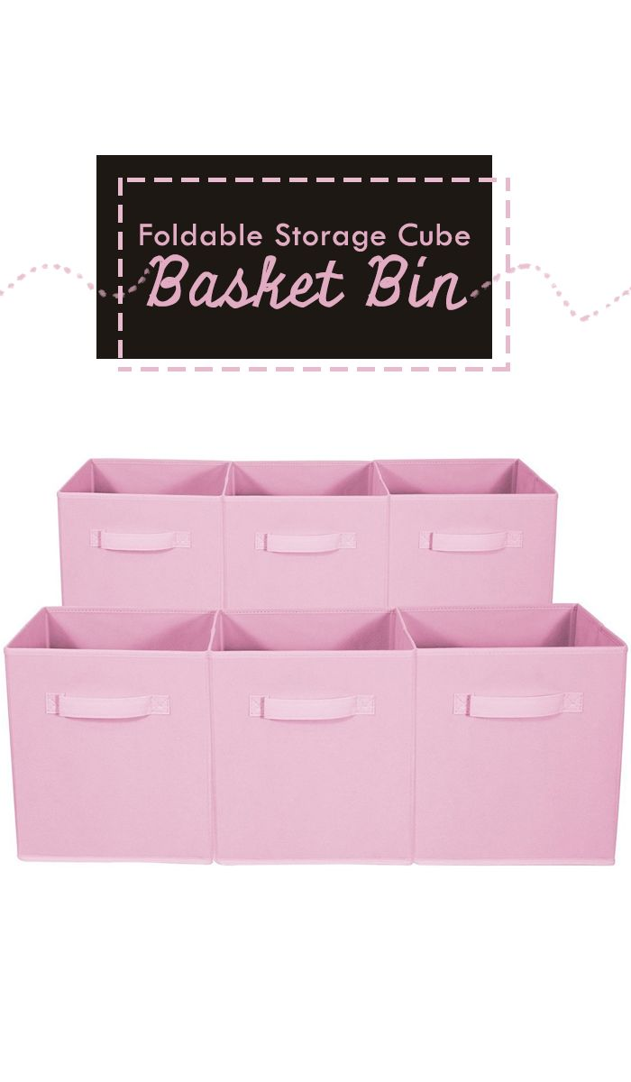 Perfect for organizing and cutting down on clutter, these Collapsible Storage Cubes add style and function to your cube organizer! Fabric drawers easily slide in and pull out of cube shelves thanks to sewn-in handles! | organizing ideas | organizing hacks | organizing tips | organizing home | organizing toy | organizing smal spaces #Ad