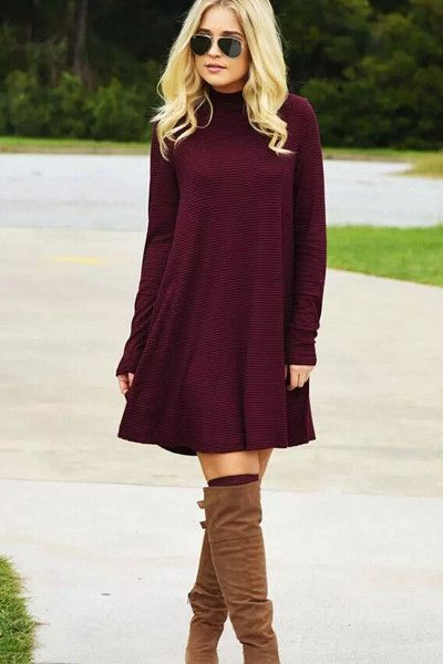 Warm Wishes Textured Knit Turtleneck Dress - Burgundy                                                                                                                                                                                 More