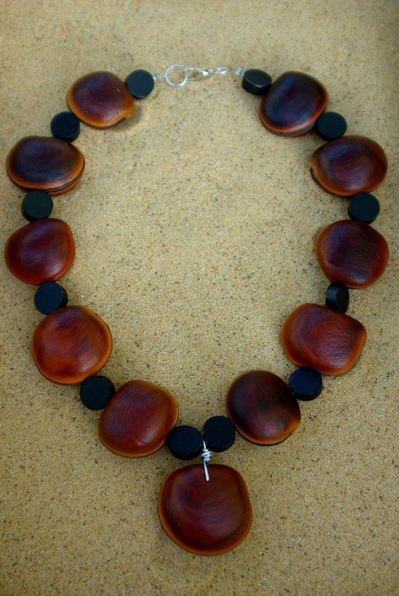 Hamburger Sea Bean Necklace by SurfbunnyDesign on Etsy