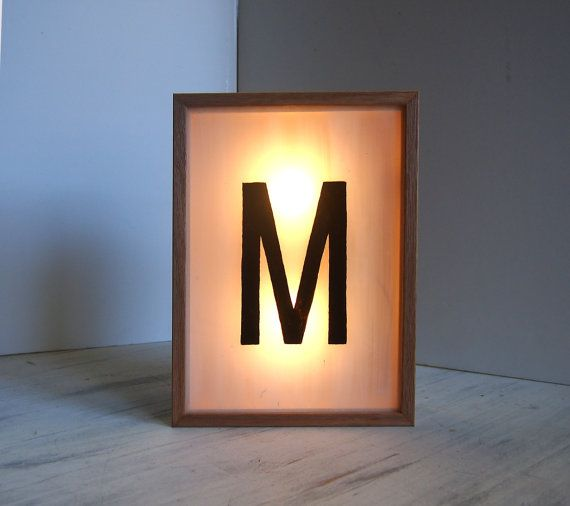 Letter M – Personalised Hand Painted Light Up Signs – Lighted Signs – Wooden Light Box – Illuminated Name Initial Baby Boy Nursery Decor