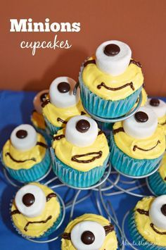 Minions Cupcakes. Celebrate MINIONS in theaters on July 10 with these fun Minions Party Ideas! #ad #MinionsParty
