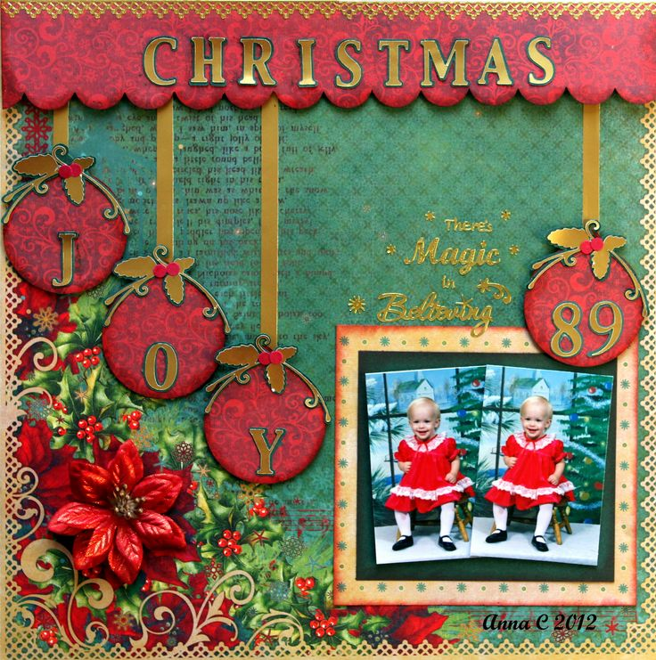 ***FUNTOOLAS DECEMBER KIT*** CHRISTMAS JOY - Scrapbook.com; I like the idea of putting the year on one of the ornaments.