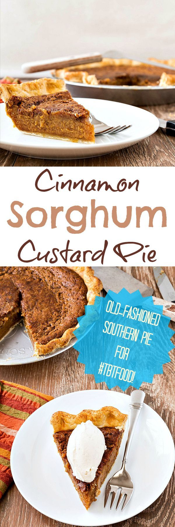 This Cinnamon Sorghum Custard Pie recipe is based on one found in a Charleston, SC newspaper. If you have never tried sorghum syrup, I highly recommend seeking some out and then making this pie recipe. Sorghum syrup is amber-colored and complex. It tastes a bit like molasses but without bitterness. It is a flavor like no other, and I think you will love it! | http://pastrychefonline.com