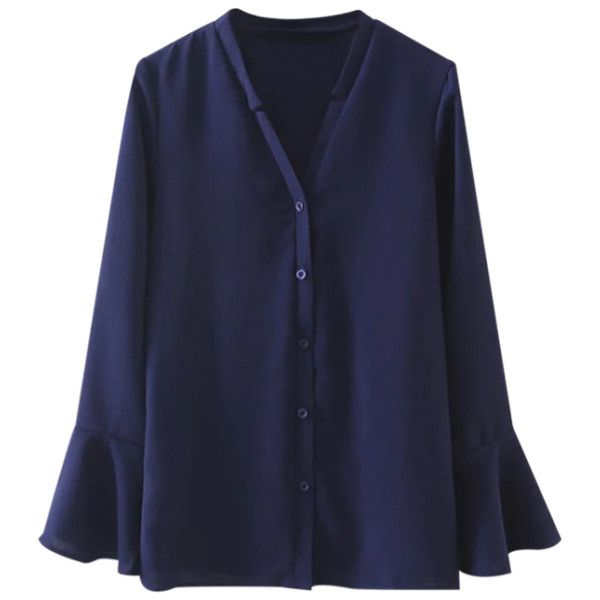 V Neck Flare Sleeve Shirt Deep Blue (785 UYU) ❤ liked on Polyvore featuring tops, blouses, flared sleeve blouse, dark blue blouse, deep blue shirt, bell sleeve shirt and v neck blouse