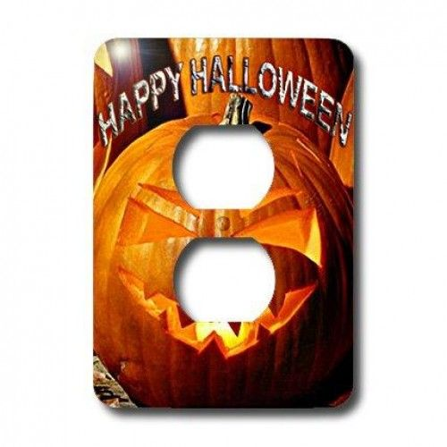 """3dRose LLC lsp_2836_6 Happy Halloween 2 Plug Outlet Cover  Happy Halloween #Light #SwitchCover is made of durable scratch resistant metal that will not fade, chip or peel. Featuring a high gloss finish, along with matching screws makes this cover the perfect finishing touch. Features : Dimensions: 3 1/2 H x 5"""" W *Made of strong, durable scratch-resistant metal *Includes matching screws *High gloss finish *Easy to clean """""""