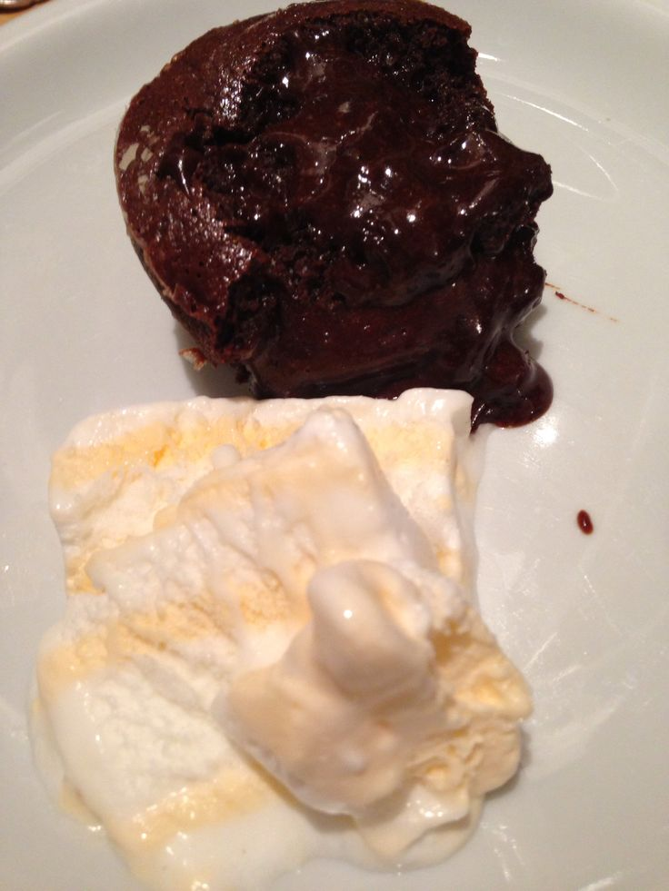 Brutal Chocolate Lava Cake with One Scoup of Vanilla Ice-Cream
