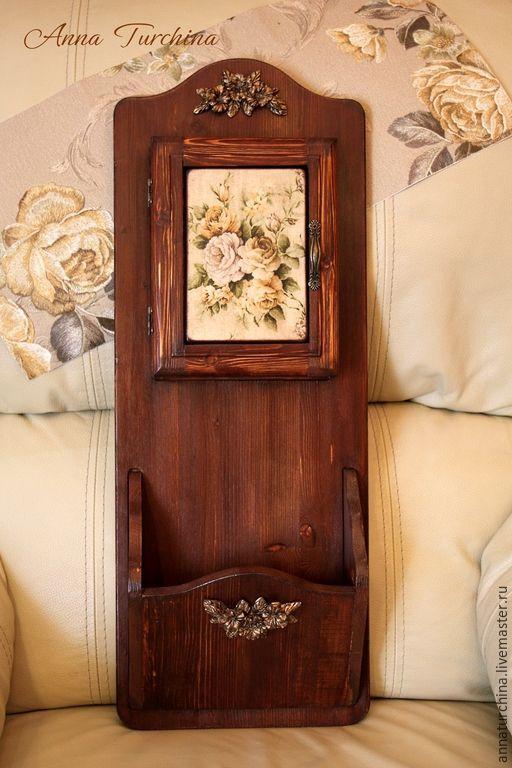 """Купить Ключница с карманом для писем """"Розы"""" - ключница, прихожая, массив дерева, интерьер, ключница деревянная"""