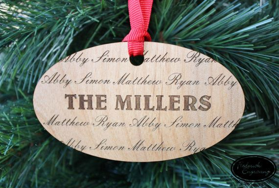 """Love this personalized """"Family"""" wood ornament."""