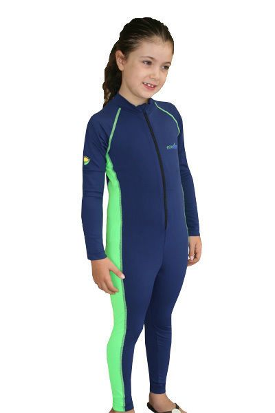 PERFECT FIT GIRLS SUN PROTECTION SWIMWEAR FULL BODY STINGER SUIT NAVY LIME #ecostinger #Swimsuit