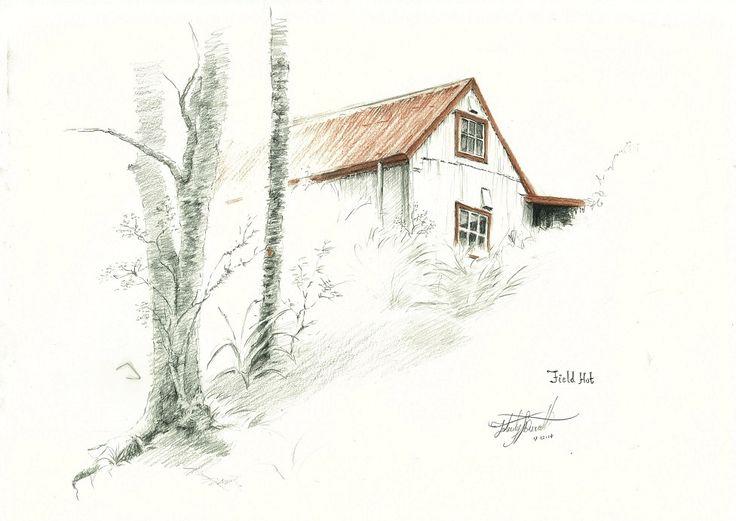 Field Hut, Tararua Ranges, NZ Drawn en plein air by Felicity Deverell. The Art of a Hut Collection