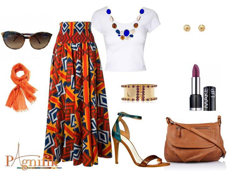 Idée de look – Maxi jupe orange Stella Jean | Pagnifik