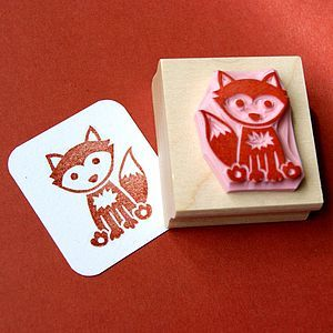 Woodland Fox Hand Carved Rubber Stamp