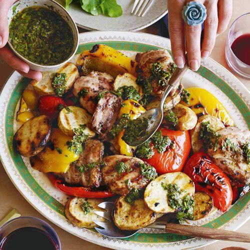 Chicken, potato & capsicum asado with three-herb chimichurri