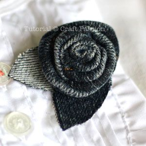 complete denim rosette brooch